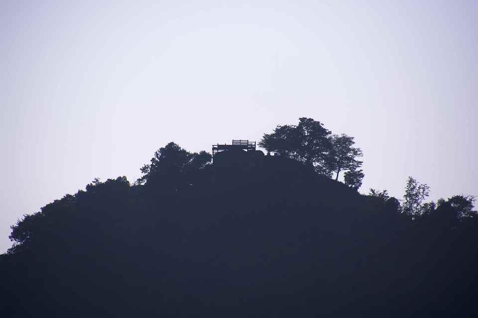 苗木城跡、木曽川、薄暮。