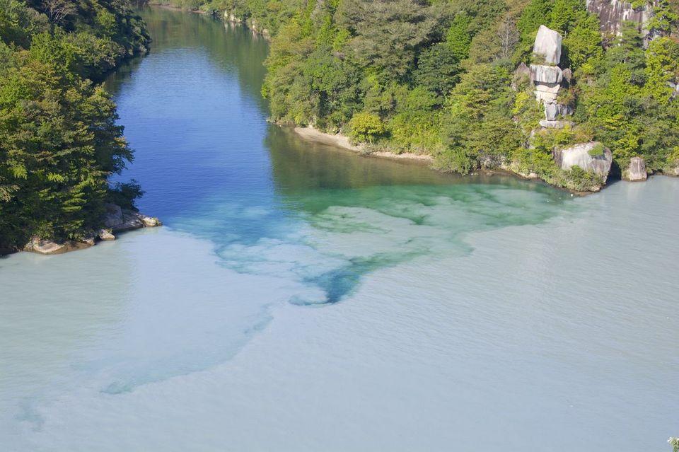 白い木曽川 と 青い付知川の戦い。
