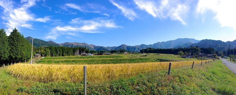 霧が原からの稲田と恵那山、美しい日本の風景。 10/17 Iphone Panorama border=
