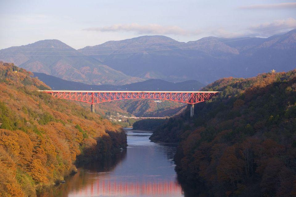 萌える木曽川両岸と城山大橋