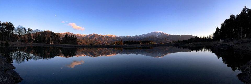 素晴らしい夕暮れの逆さ恵那 Iphone Panorama