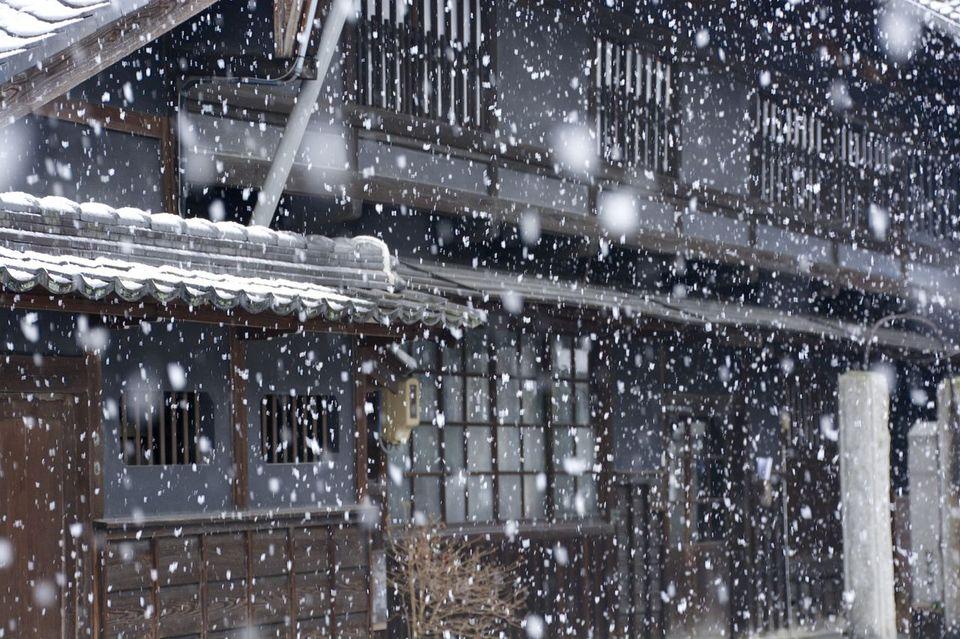 雪降りの中津川 2/8 お昼