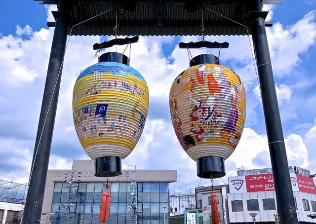 中津川の夏祭り「おいでん祭」シンボル、中津川大提灯。 border=