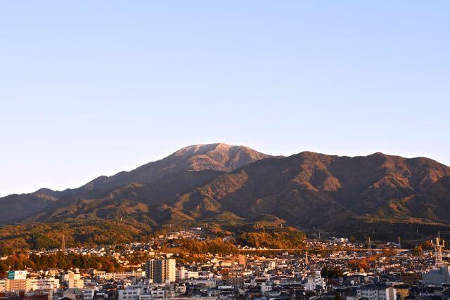 恵那山夕照、赤染まり。