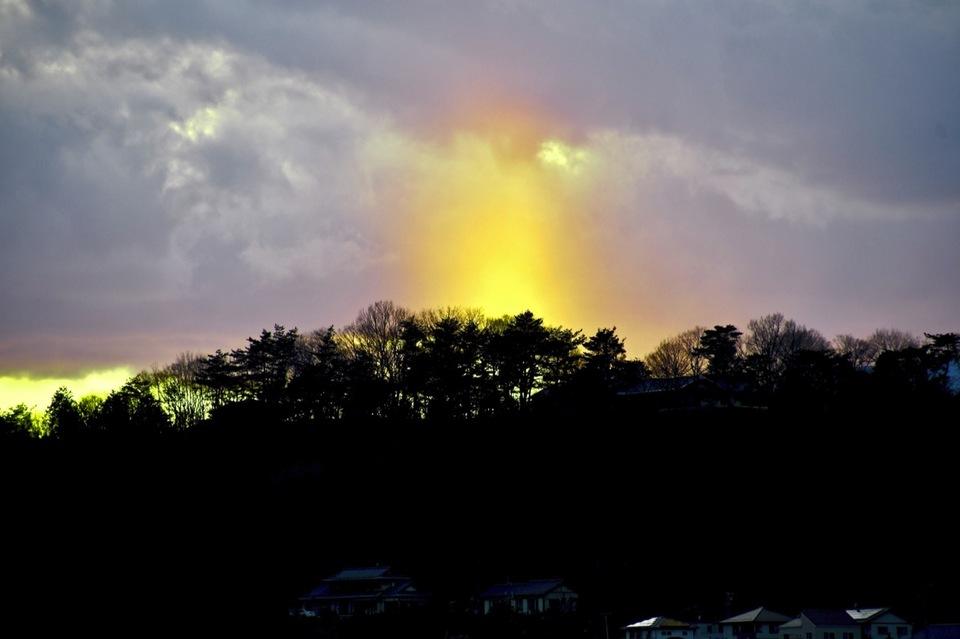 太陽柱、サンピラー 、光芒。