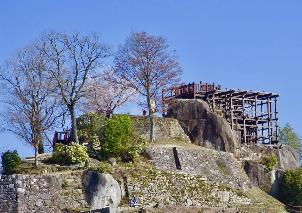 令和元年、雪の恵那山と苗木城天守台の桜。