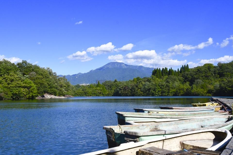 ひょうたん池の波立つ水面、チャプチャプ揺れる桟橋とボート。