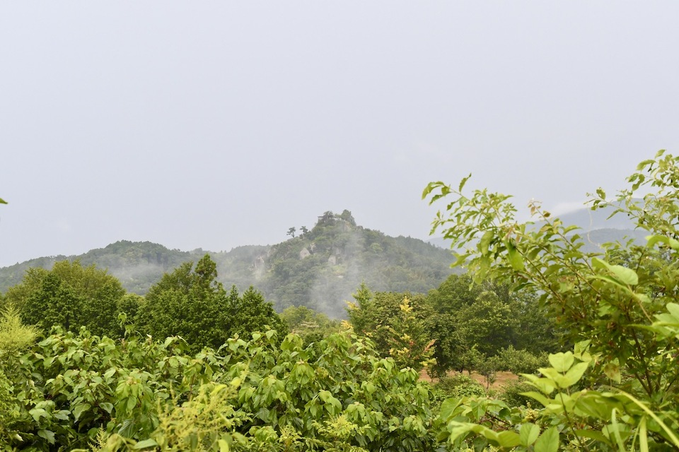 天空の城苗木城は雨が降り始めると霞に包まれます。 border=