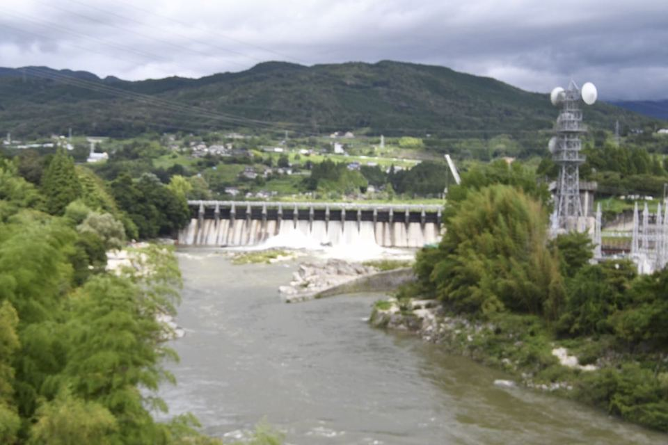 台風一過の木曽川落合ダム、