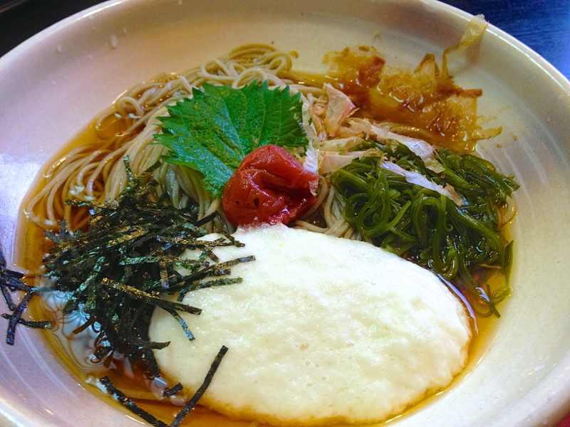 美味しいお昼ごはん 究極のネバネバ「梅とメカブのとろろ蕎麦」」 border=