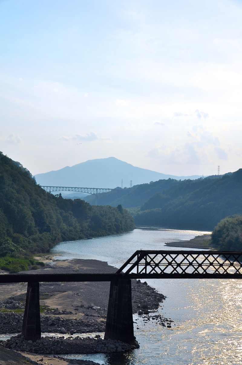 黄昏の北恵那鉄橋