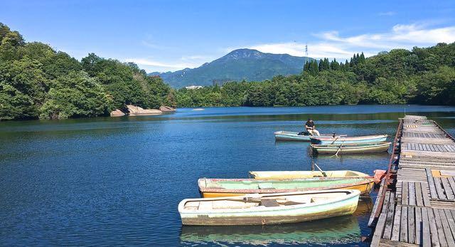 初夏の風吹き抜けるひょうたん池からの恵那山