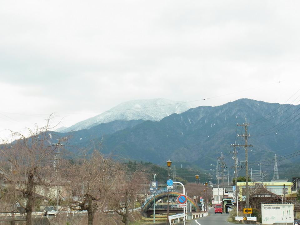 雪化粧の恵那山としだれ桜が少々