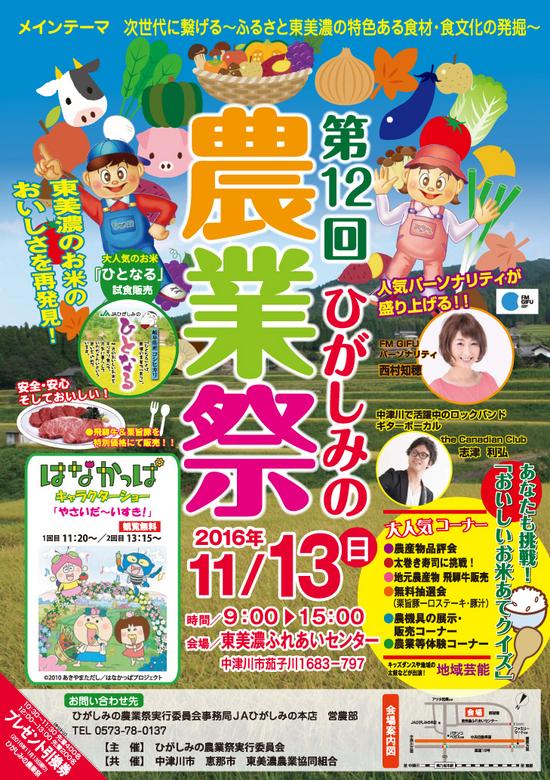 第12回ひがしみの農業祭ちらし/JAひがしみの本店